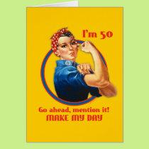 Rosie Riveter 50th Birthday Card