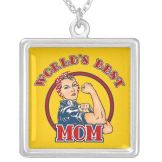 Rosie Riveter Best Mom Necklace