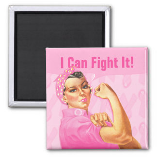 Rosie Riveter Custom Cancer 2 Inch Square Magnet