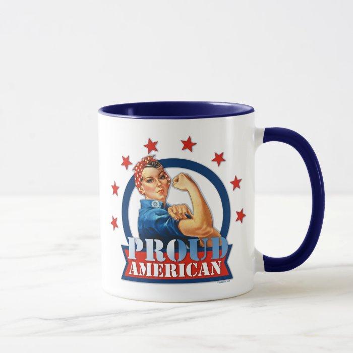 Rosie Riveter Proud American Ringer Mug