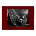 Rosie Riveter Scaling the Slag from Liberty Ship Greeting Card