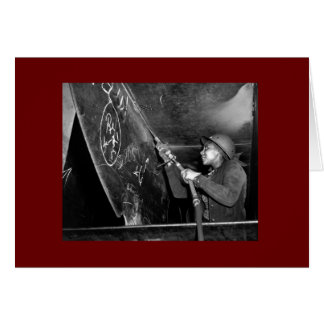 Rosie Riveter Scaling the Slag from Liberty Ship Card