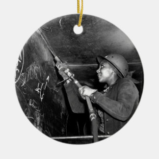 Rosie Riveter Scaling the Slag from Liberty Ship Ceramic Ornament