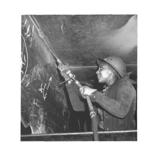 Rosie Riveter Scaling the Slag from Liberty Ship Notepad