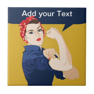 Rosie Riveter Strong Woman Small Square Tile
