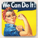 Rosie Riveter Vintage Propaganda Beverage Coaster