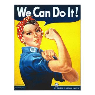 Rosie Riveter Vintage Propaganda 4.25x5.5 Paper Invitation Card