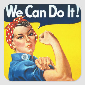 Rosie Riveter Vintage Propaganda Square Sticker