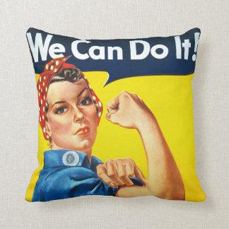 Rosie Riveter Vintage Propaganda Throw Pillow