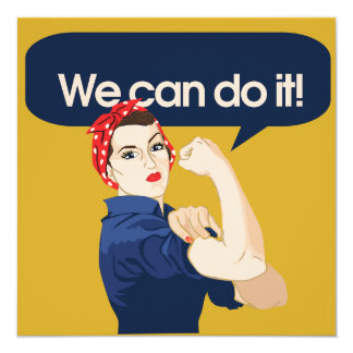 Rosie Riveter We can do it 5.25x5.25 Square Paper Invitation Card