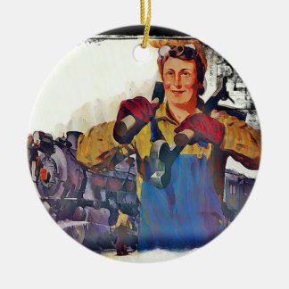 Rosie Riveter Works on the Rail Road WWII Ceramic Ornament
