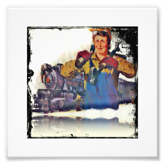 Rosie Riveter Works on the Rail Road WWII Photo Print
