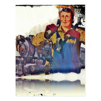 Rosie Riveter Works on the Rail Road WWII Postcard