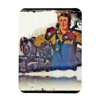 Rosie Riveter Works on the Rail Road WWII Rectangular Photo Magnet