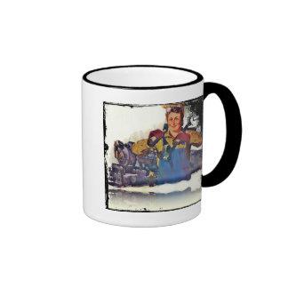 Rosie Riveter Works on the Rail Road WWII Ringer Mug
