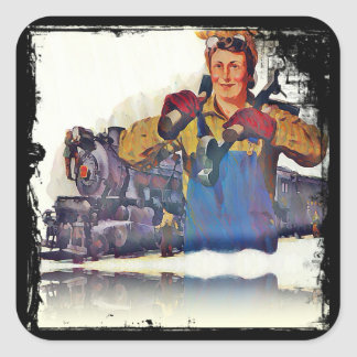 Rosie Riveter Works on the Rail Road WWII Square Sticker