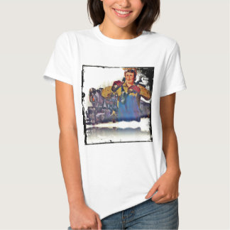 Rosie Riveter Works on the Rail Road WWII T Shirt