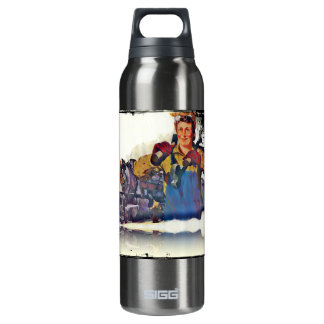 Rosie Riveter Works on the Rail Road WWII Thermos Bottle