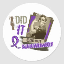 Rosie Sepia I Did It Pancreatic Cancer Classic Round Sticker