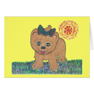 Rosie the Pomeranian Puppy Greeting Card