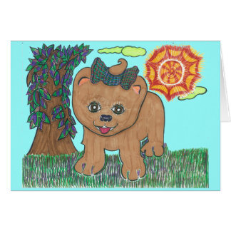 Rosie The Pomeranian Puppy Card