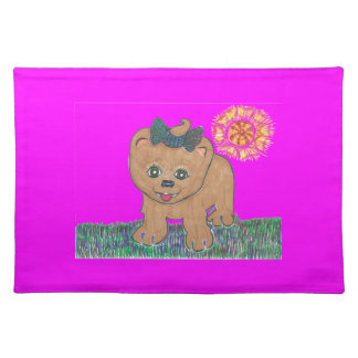 Rosie The Pomeranian Puppy Cloth Placemat