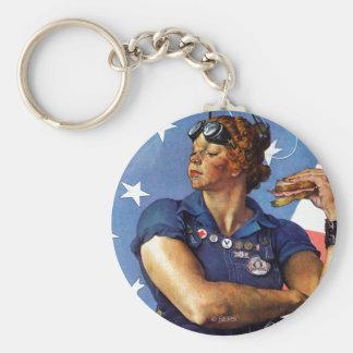 Rosie the Riveter Basic Round Button Keychain