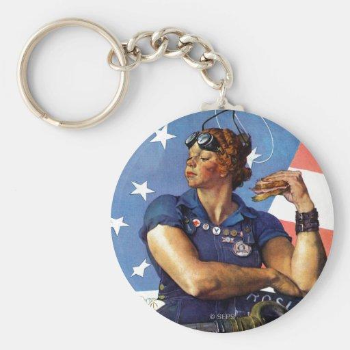 """""""Rosie the Riveter"""" Basic Round Button Keychain"""
