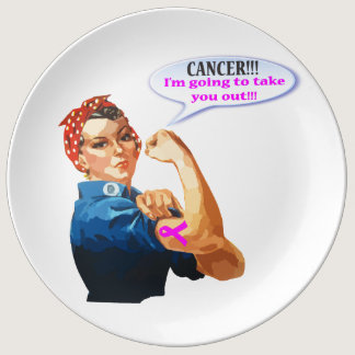 Rosie the Riveter Breast Cancer Charity Design Dinner Plate