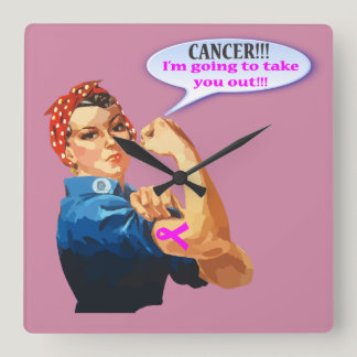 Rosie the Riveter Breast Cancer Charity Design Square Wall Clock