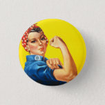 "Rosie the Riveter Button<br><div class=""desc"">J. Howard Miller&#39;s &quot;We Can Do It!&quot;, commonly referred to as Rosie the Riveter Button In 1942, Pittsburgh artist J. Howard Miller was hired by the Westinghouse Company's War Production Coordinating Committee to create a series of posters for the war effort. One of these posters became the famous ""We Can...</div>"