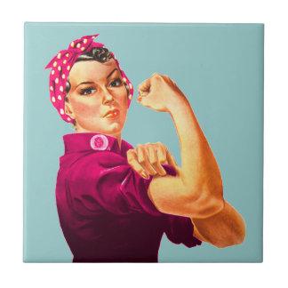 Rosie The Riveter - Cancer Pink Ceramic Tile