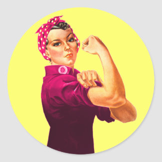 Rosie The Riveter - Cancer Pink Classic Round Sticker
