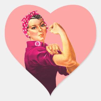 Rosie The Riveter - Cancer Pink Heart Sticker