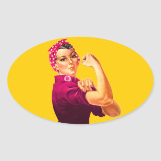 Rosie The Riveter - Cancer Pink Oval Sticker