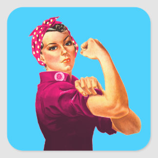 Rosie The Riveter - Cancer Pink Square Sticker