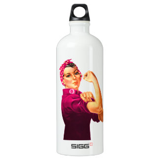 Rosie The Riveter - Cancer Pink Water Bottle