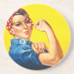 """Rosie the Riveter Coaster<br><div class=""""desc"""">J. Howard Miller&#39;s &quot;We Can Do It!&quot;, commonly referred to as Rosie the Riveter Coaster In 1942, Pittsburgh artist J. Howard Miller was hired by the Westinghouse Company's War Production Coordinating Committee to create a series of posters for the war effort. One of these posters became the famous """"We Can...</div>"""