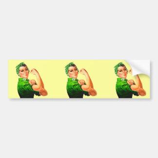 Rosie The Riveter - Green Military Bumper Sticker