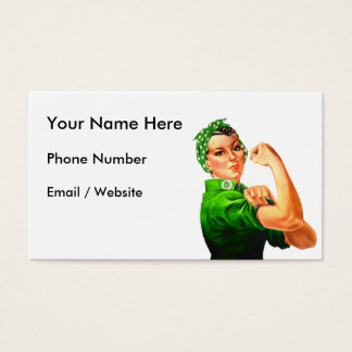 Rosie The Riveter - Green Military Business Card