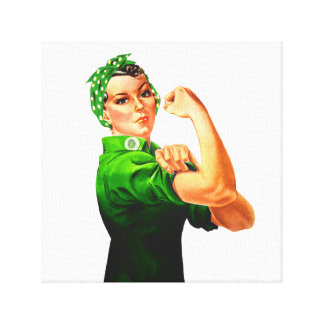 Rosie The Riveter - Green Military Canvas Print