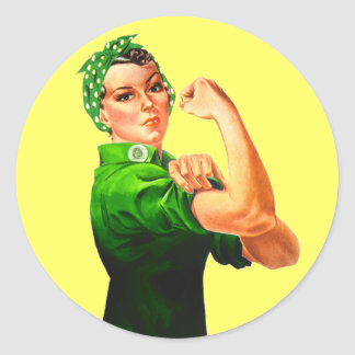Rosie The Riveter - Green Military Classic Round Sticker
