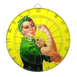 Rosie The Riveter - Green Military Dartboard With Darts