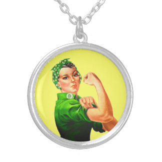 Rosie The Riveter - Green Military Custom Necklace