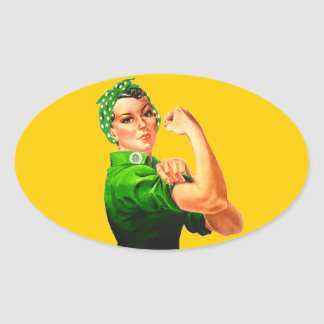Rosie The Riveter - Green Military Oval Sticker