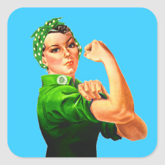 Rosie The Riveter - Green Military Square Sticker