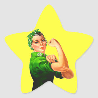 Rosie The Riveter - Green Military Star Sticker