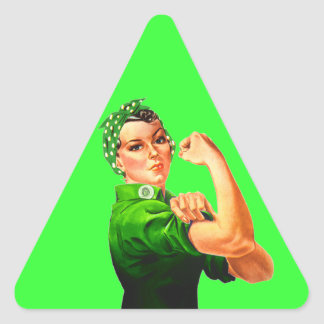 Rosie The Riveter - Green Military Triangle Sticker