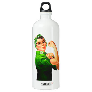 Rosie The Riveter - Green Military Water Bottle