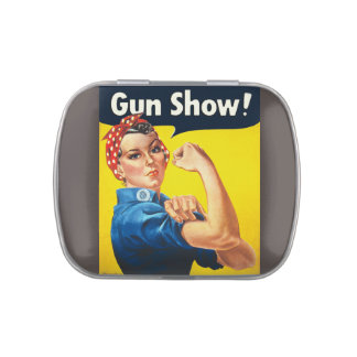 Rosie The Riveter: Gun Show! Jelly Belly Candy Tins